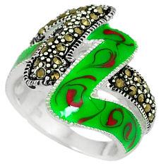 Art deco marcasite enamel 925 sterling silver ring jewelry size 7.5 c18521