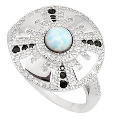 Art deco pink australian opal (lab) topaz 925 silver ring size 7 a95806 c24655