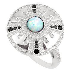 Art deco pink australian opal (lab) topaz 925 silver ring size 7 a95808 c24629