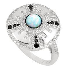 Art deco pink australian opal (lab) topaz 925 silver ring size 8 a95809 c24630