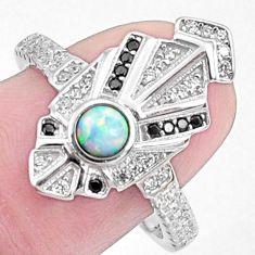 Art deco pink australian opal (lab) topaz 925 silver ring size 8 a95822 c24611