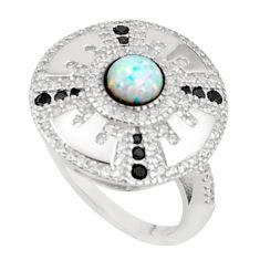 Art deco pink australian opal (lab) topaz 925 silver ring size 9 a95812 c24658