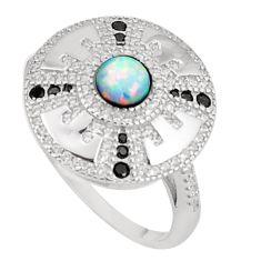 Art deco pink australian opal (lab) topaz 925 silver ring size 9 a95816 c24660
