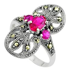 Art deco ruby quartz marcasite 925 sterling silver ring jewelry size 6.5 c17546