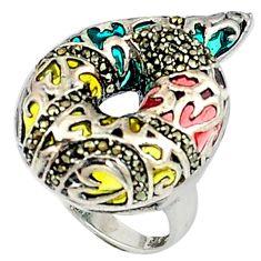 Art nouveau fine marcasite enamel 925 sterling silver ring size 6.5 c20735