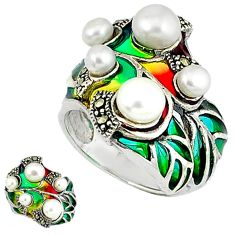Art nouveau natural white pearl enamel 925 sterling silver ring size 6.5 c20772