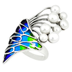 Art nouveau natural white pearl enamel 925 sterling silver ring size 7 c20763