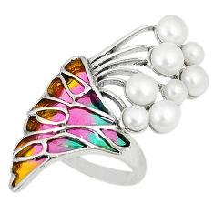 Art nouveau natural white pearl enamel 925 sterling silver ring size 7 c20771