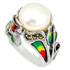 Art nouveau natural white pearl marcasite enamel 925 silver ring size 6 c20747