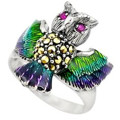 Art nouveau red ruby marcasite enamel 925 silver owl ring jewelry size 8 c20737