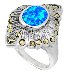 Australian fire opal marcasite 925 sterling silver ring size 6.5 a40310 c15195