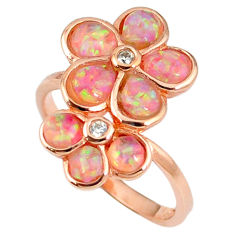 2.21cts australian opal (lab) 925 silver rose gold ring size 8.5 a61913 c14999