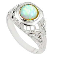 1.40cts australian opal (lab) 925 silver solitaire ring size 9 a89155 c24631