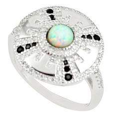 1.22cts australian opal (lab) black topaz 925 silver ring size 8.5 a89177 c24659
