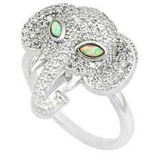 Australian opal (lab) marquise topaz silver elephant ring size 8 a89413 c24628