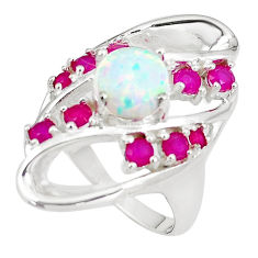 4.51cts australian opal (lab) red ruby 925 silver ring size 7.5 a89494 c24405