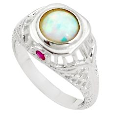 2.24cts australian opal (lab) round red ruby silver ring size 8 a89163 c24634