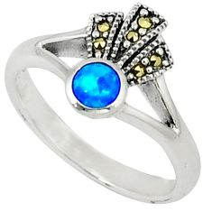 Blue australian opal (lab) round swiss marcasite 925 silver ring size 8.5 c17539