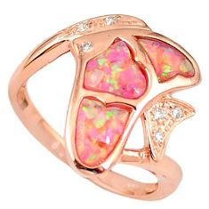 2.51cts australian opal (lab) silver 14k rose gold ring size 9.5 a61802 c15126