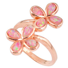 1.81cts australian opal (lab) silver 14k rose gold ring size 9.5 a61898 c14996