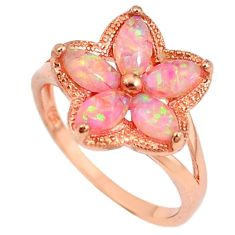 1.54cts australian opal (lab) silver 14k rose gold ring size 8.5 a61902 c14994