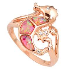 Pink australian opal (lab) silver 14k rose gold seahorse ring size 9.5 c15792