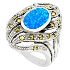 2.24cts australian opal (lab) swiss marcasite silver ring size 9 a89365 c24412