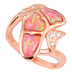 2.51cts australian opal (lab) topaz 925 silver gold ring size 8 a61808 c15131
