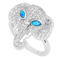 2.74cts australian opal (lab) topaz silver elephant ring size 8 a95962 c24621