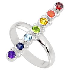 Balancing energy natural multigems powerful 925 silver chakra ring size 8 r65242