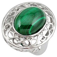 Big n heavy natural malachite 925 sterling silver ring size 6.5 c23690