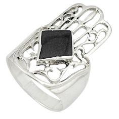 Black onyx 925 sterling silver hand of god hamsa ring jewelry size 5.5 c21658