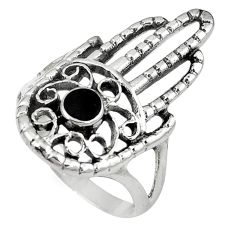 Black onyx 925 sterling silver hand of god hamsa ring jewelry size 9 c12282