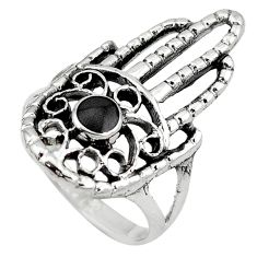 Black onyx 925 sterling silver hand of god hamsa ring jewelry size 9 c12293