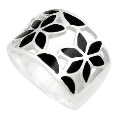 6.02gms black onyx enamel 925 silver flower ring jewelry size 6.5 c12938