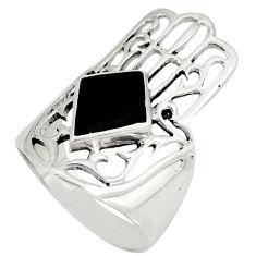 Black onyx enamel 925 silver hand of god hamsa ring jewelry size 6 c12295