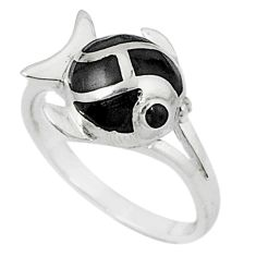 Black onyx enamel 925 sterling silver fish ring jewelry size 6 c22736