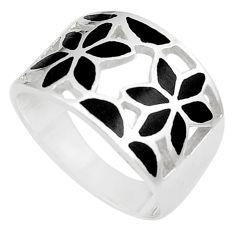 6.02gms black onyx enamel 925 sterling silver flower ring jewelry size 9 c12937