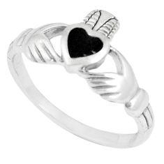 3.02gms black onyx enamel 925 sterling silver heart ring size 8.5 c12269