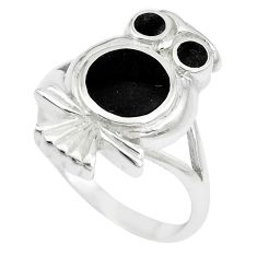 5.48gms black onyx enamel 925 sterling silver owl ring size 7.5 a88541 c13479