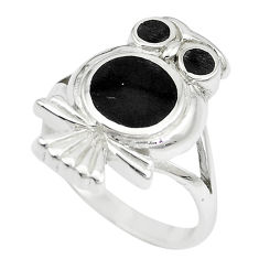 5.48gms black onyx enamel 925 sterling silver owl ring size 6.5 a88554 c13466