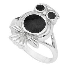5.89gms black onyx enamel 925 sterling silver owl ring size 8.5 a95614 c13311