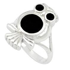 6.26gms black onyx enamel 925 sterling silver owl ring size 6 a91983 c13461
