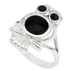 5.69gms black onyx enamel 925 sterling silver owl ring size 9 a88552 c13463