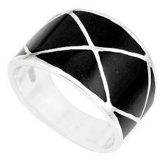 4.87gms black onyx enamel 925 sterling silver ring jewelry size 5.5 c12927
