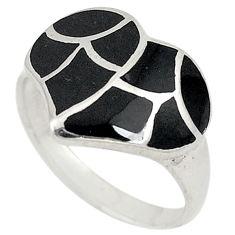 Black onyx enamel 925 sterling silver ring jewelry size 8.5 c21990