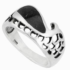 4.02gms black onyx enamel 925 sterling silver ring jewelry size 6 c12275