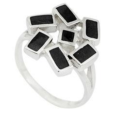 Black onyx enamel 925 sterling silver ring jewelry size 7 a67605 c13204