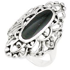 Black onyx enamel 925 sterling silver ring jewelry size 7 c12798