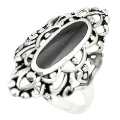 Black onyx enamel 925 sterling silver ring jewelry size 8 c12797